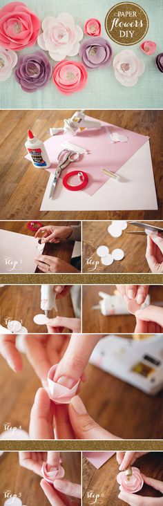 How to Make Paper Flowers How To Make Paper Flowers, Paper Flowers Diy, Flower Crafts, Fabric Flowers, Craft Flowers, Crafts To Make, Crafts For Kids, Diy Crafts, Diy Papier