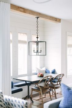 Farmhouse Dining Room Decor Ideas – Is it dining room or dinning room? Banquette Seating In Kitchen, Farmhouse Dining Room Table, Dining Nook, Dining Room Design, Booth Seating In Kitchen, Corner Banquette, Dining Room Bench Seating, Dining Table, Table Bench