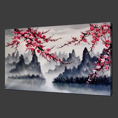 CHERRY BLOSSOM MOUNTAINS PREMIUM CANVAS PRINT WALL ART MODERN DESIGN FREE UK P | eBay