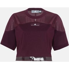 Adidas by Stella McCartney Red Essential Cropped Top ($39) ❤ liked on Polyvore featuring tops, bordeaux, short sleeve crop top, purple crop top, adidas, jersey crop top and short sleeve cotton tops