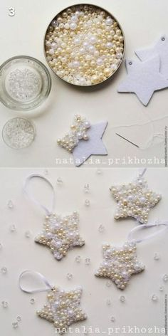 Easy DIY Pearl Star Christmas Ornament craft and gift idea. Easy DIY Pearl Star Christmas Ornament craft and gift idea. Holiday Crafts & Activities for Kids Easy Christmas Ornaments, Noel Christmas, Simple Christmas, Diy Ornaments, Star Ornament, Beaded Ornaments, Pinecone Christmas Crafts, Homemade Christmas Crafts, Custom Ornaments