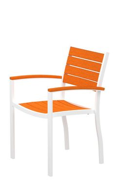 Polywood A200-13TA Euro Dining Arm Chair in Textured White Aluminum Frame / Tangerine