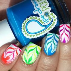 Amazing watermarble nails by @de.lish.ious.nails using Pure Color 7 watermarble tool from whatsupnails.com (link in bio)...
