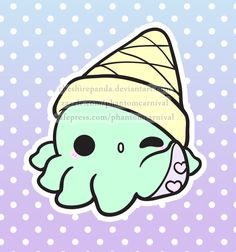 .:Octi-cream:. Kawaii Octopus/Ice Cream Cone (Possible Polymer Charm Inspiration?)