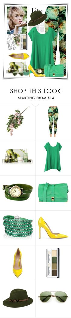"""""""03.05.16 SP FASHION Womens Green Camouflage Leggings"""" by shirleipatricia ❤ liked on Polyvore featuring Stella & Dot, La Mer, TravelSmith, Lanvin, Sif Jakobs Jewellery, Gianvito Rossi, Clinique and Kathy Jeanne"""