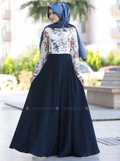 Nakışlı Dantel Abiye Elbise - Lacivert - Selma Sarı Design