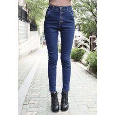 $10.54 Slimming Single-Breasted High Waist Denim Jeans For Women