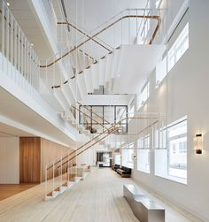 Piercy U0026amp; Company Suspends Steel Staircase In New Atrium Of Savile Row  Office Staircase Handrail