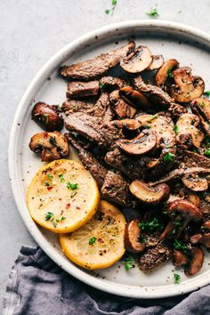 Lemon Garlic Butter Flank Steak with Mushrooms | The Recipe Critic