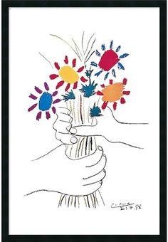 "0-028441>25x37"" Pablo Picasso Fleurs et Mains Framed Print"
