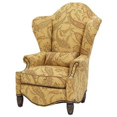 Essex Manor High Back Wing Chair with Nail Head Trim by Michael Amini at Olinde's Furniture Solid Wood Furniture, Dining Furniture, Furniture Decor, Modern Furniture, Accent Furniture, High Back Accent Chairs, High Back Chairs, Winged Armchair, Elegant Sofa