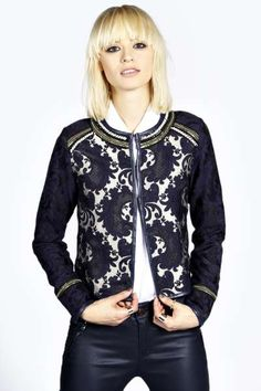 Boutique Brody Brocade Pearl & Chain Trim Trophy Jacket at boohoo.com