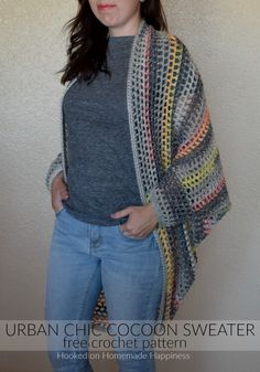 I really enjoy making cocoon sweaters. They're super easy to make and there are endless possibilities. Trust me when I say, any crocheter can make this Urban Chic Cocoon Sweater Crochet Pattern! Crochet Cocoon, Free Crochet, Knit Crochet, Crochet Sweaters, Tunisian Crochet, Basic Crochet Stitches, Easy Crochet Patterns, Cocoon Sweater, Crochet Cardigan Pattern