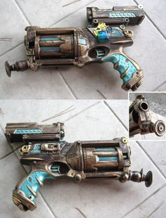 Steampunk gun. I have one of these but I can't get mine to look right. I will have to try a color scheme similar to this one, and looks like I need to attach fewer, but cooler things to it. LOL