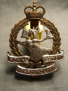 Canadian Soldiers, Canadian Army, Kings Crown, Newfoundland, Wwii, Badge, Bronze, Cap, Antiques