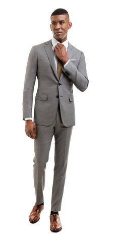 The best online luxury custom suits, shirts, blazers, trousers and tuxedos with free worldwide shipping and backed by our Flawless Fit Promise. Grey Suit Shoes, Black Suit Men, Gray Suits, Gq Fashion, Mens Fashion Suits, Mens Suits, Formal Dress For Black Man, Stylish Men, Men Casual