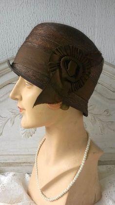 ab87009d141b6 Beautiful 1920 s Black Straw Flapper Downton Abbey Great Gatsby ...