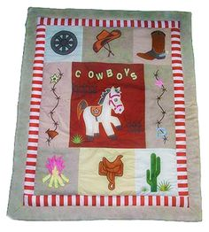 Western cowboy patchwork baby crib quilt for a rustic ranch nursery bedding set with cowboy boots cactus horse saddle and campfire appliqués Western Crib, Western Bedding, Western Cowboy, Cowboy Boots, Baby Nursery Themes, Baby Boy Nurseries, Baby Cribs, Cowboy Nursery, Patchwork Baby