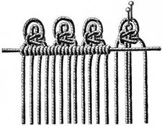 FIG. 521. KNOTTING ON THREADS WITH PICOTS AND TWO FLAT DOUBLE KNOTS.