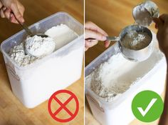 #Kitchen Tip: When measuring flour for #baking, first spoon the flour into a dry measuring cup, then sweep off the excess with a knife. Don't scoop it directly from the bag with a measuring cup. The flour will become compacted, and you'll get more than you need for the recipe. ✋ ✋