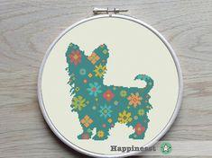 modern cross stitch pattern, Yorkshire terrier, flower power, silhouette, PDF ** instant download**
