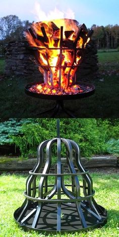 Grate Wall of Fire Tall Fire Pit. No need to handle burning logs- fire pit is self-feeding. Outdoor Spaces, Outdoor Living, Outdoor Decor, Diy Fire Pit, Fire Pit Grate, Outdoor Projects, Blacksmithing, Land Scape, The Great Outdoors