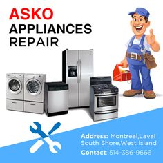 #Repair and #installation services for all #Asko #Appliances Call #APlusRepair at : 514-386-9666  #Montreal #Quebec #Canada