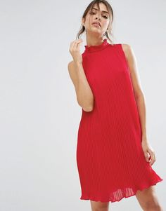 ASOS Sleeveless High Neck Pleated Swing Dress - Pink