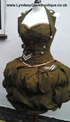 MADE TO ORDER British Military corset and puff by LyndseyBoutique, £500.00
