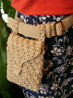 Crochet Hip/Belt Bag. Mine is similar to this, but it's boho-striped. Great for dressing up a plain outfit and going hands-free.