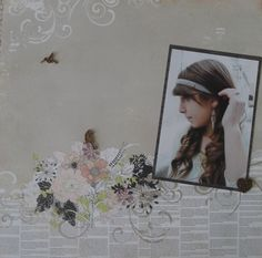 Recently scrapbooked photo of my niece using Prima Marketing paper and embellishments.