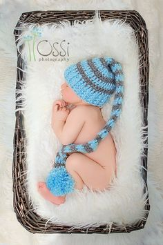 Crochet Long Tail Elf Hat, Baby Boy elf Hat, Newborn Hat, Long Tail Elf Hat. $16.00, via Etsy.