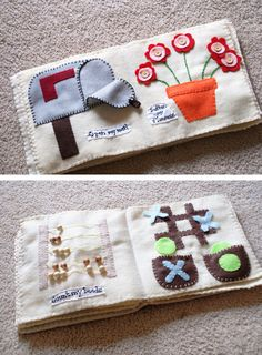 Interactive cloth books to sew for babies. You can even incorporate buttons, snaps, and other simple activities to occupy hands and encourage coordination.