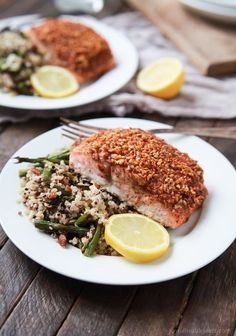 Impress your family or dinner guests with this easy Honey Mustard Pecan Crusted Salmon recipe. All you'll need is 5 ingredients and 15 minutes to make this dynamite meal! Dinner just got easier! Savory Salmon Recipe, Healthy Salmon Recipes, Paleo Recipes Easy, Fish Recipes, Cooking Recipes, Recipies, Seafood Recipes, Chicken Recipes, Quick Easy Dinner