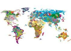 fantastische muursticker met wereldkaart MIMI'lou   kinderen-shop Kleine Zebra