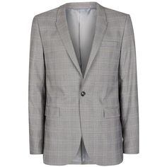 TOPMAN Black And White Check Ultra Skinny Fit Suit Jacket (161,880 KRW) ❤ liked on Polyvore featuring men's fashion, men's clothing, men's outerwear, men's jackets, black and topman