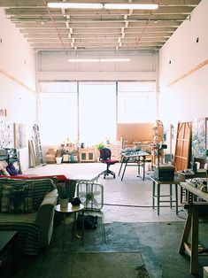 I'd die to have this much space and that kind of light in my  art studio. Studio Tour with Lisa Congdon / sfgirlbybay