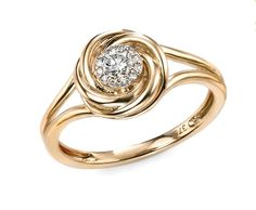 Elements Hallmarked 9ct yellow gold diamond swirl ring