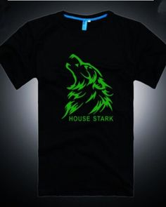 House Stark black t shirt Game of Thrones Season 5 cheap luminous Wolf t shirts Wolf T Shirt, House Stark, Summer Essentials, Cool Style, Seasons, Game, Mens Tops, Prints, Black