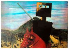 """Sydney Nolan """"Kelly & Red Horse"""", one of a series of paintings by Sir Sidney Nolan on Ned Kelly. Ned Kelly, Australian Painting, Australian Artists, Sidney Nolan, Penguin Art, Art Terms, Modern Love, Naive Art, Realism Art"""