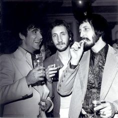 Keith Moon, Pete Townshend, and John Entwistle at the Squeeze Box party, 1975