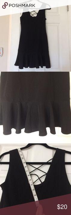 "Black cocktail dress Black cocktail dress, ruffle bottom hem (6.5"") 32.5"" from top shoulder to bottom of hem. V cut back neckline with crisscross detail. Side zip. 97% polyester 3% spandex Very J Dresses"
