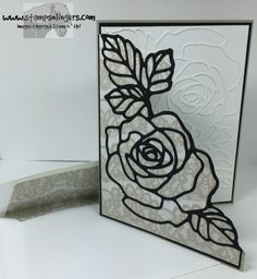 Cut flower from Whisper White and Basic Black, using the Rose Garden Thinlit.  Adhered black die cut to Timeless Elegance DSP, then to Basic Black Mat, then to Sahara Sand card base.  Fussy cut the front.  Inside uses the white die cut.  For free instructions on how to make this card, please visit my blog post at:Stamps-N-Lingers.  Rose Garden Thinlits, Rose Wonder sentiment inside.  Timeless Elegance DSP…