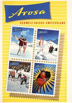 1950s Arosa Ski Winter Sports Travel Poster  Description: Grob / Hausammann. Arosa. Photo/Offset 1955 . Size: 41.3 x 28.7 in. (105 x 73 cm) . Printer: Conzett  Huber, Zürich . Condition Details: (A-) minimal creasing. View additional info » Realized: Log in or create account to view price data