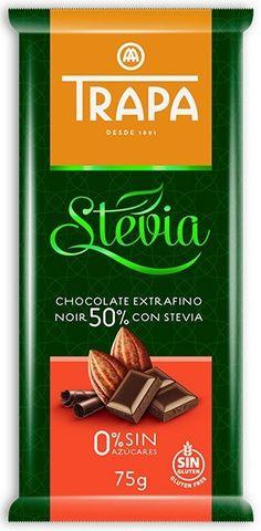 Trapa Chocolate Extrafino Noir 50% con Stevia... Μαύρη σοκολάτα 50% κακάο με στέβια. Ωραίο διαφορετικό άρωμα από κακάο και νότες από άρωμα στέβιας. Νόστιμη με διακριτό το κακάο, ισορροπιμένα γλυκιά χωρίς να λιγώνει ούτε να πικρίζει. Αρκετά ευχάριστη γεύση. Stevia Chocolate, Chocolate World, Brand Packaging, Chocolates, Branding, Brand Management, Schokolade, Chocolate, Brand Identity