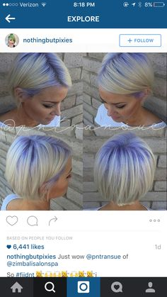 Beautiful hair color with purple roots melting into platinum hair created by hair artist Paige Transue Using Pravana Vivids hair color More Hair Styles Like This! Hair Colorful, Bright Hair Colors, Short Hair Cuts, Short Hair Styles, Platinum Hair, Platinum Pixie, Hair Color And Cut, Great Hair, Purple Hair