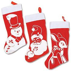 "$24.00-$24.00 Flocked red stockings trimmed with ribbons and faux fur feature retro-look screenprinted designs.   Set of 3 includes one each Snowman, Santa and Reindeer, each 14"" long."