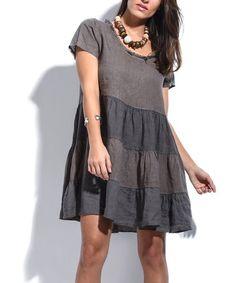 Love this Brown Stripe Fringe-Neck Linen Shift Dress - Plus Too on #zulily! #zulilyfinds