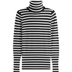 Steffen Schraut Striped Knit Pullover (160 CHF) ❤ liked on Polyvore featuring tops, sweaters, long sleeved, stripes, black white striped sweater, loose knit sweater, knit turtleneck sweater, black and white striped turtleneck and pullover sweaters