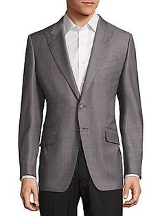 Tom Ford Textured Wool Jacket - Grey - Size